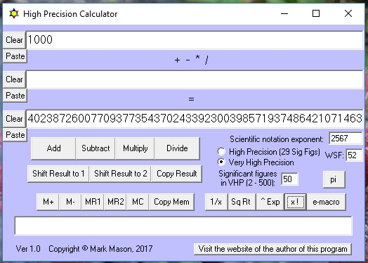 High Precision Calculator - Freeware